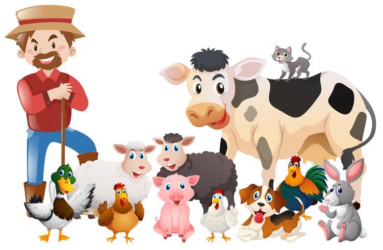 Agricoltore e molti animali