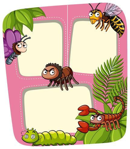 Modèle de bordure avec de nombreux insectes dans le jardin
