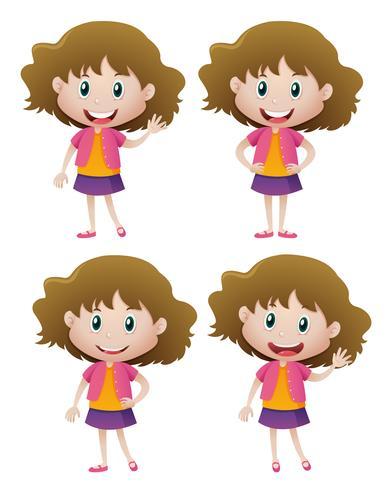 Blij meisje in vier acties