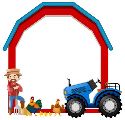 Border template with farmer and chickens