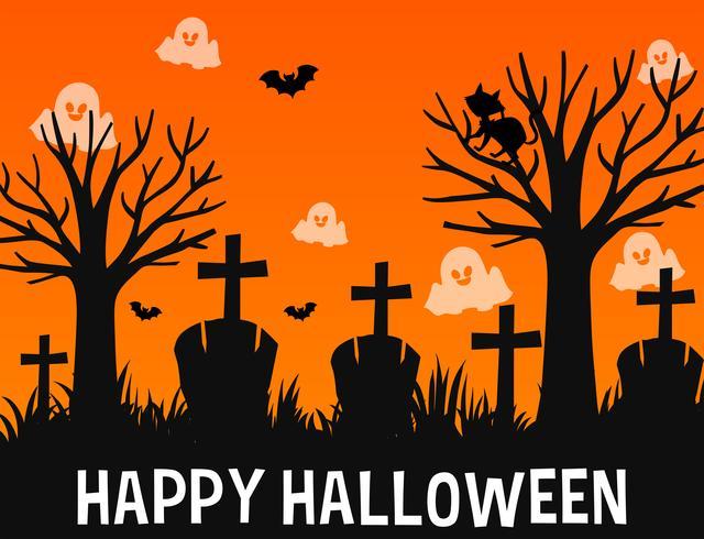 Glückliches Halloween-Plakatdesign mit Geistern im Friedhof
