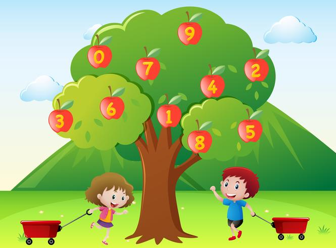 Happy kids and numbers on apple tree