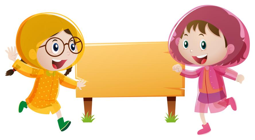 Wooden sign template with two girls in raincoat