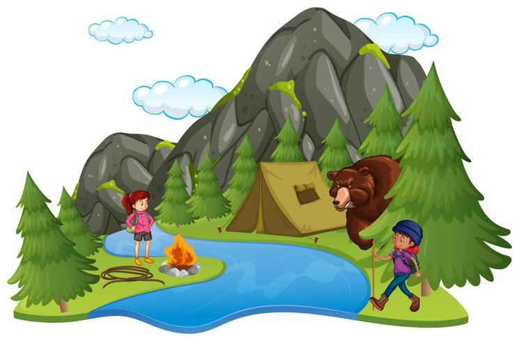 Camping avec campeurs et gros ours