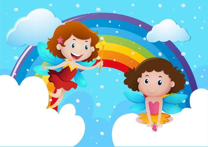 Två söta feer som flyger över regnbågen