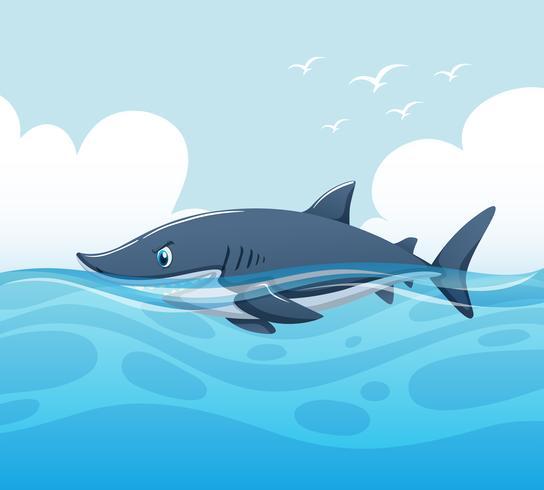 Szene mit Hai im Ozean