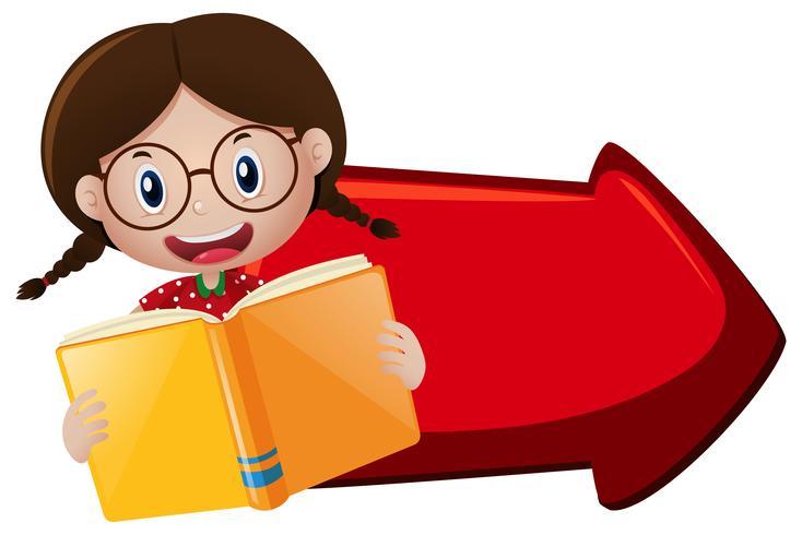 Meisje leesboek en rode pijl