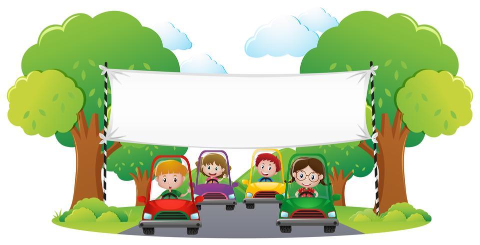 Modelo de banner com carro de corrida de crianças