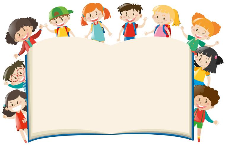Background template with kids around book