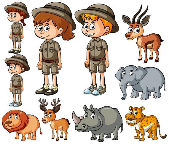 Kinder im Safarioutfit und viele wilde Tiere