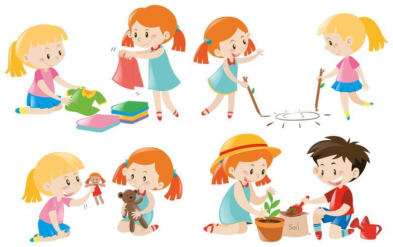 Kids doing different activities