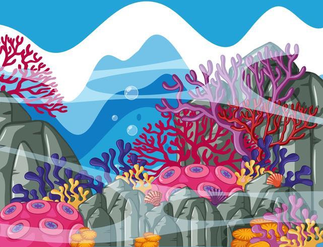 Bakgrundsscen med färgglada korallrev under vattnet
