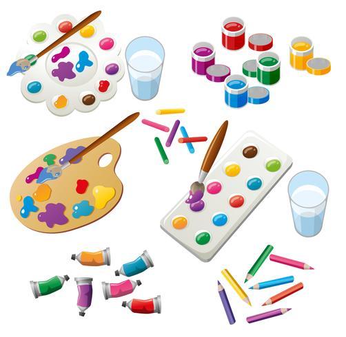 Set de pintura con pincel y paleta. vector