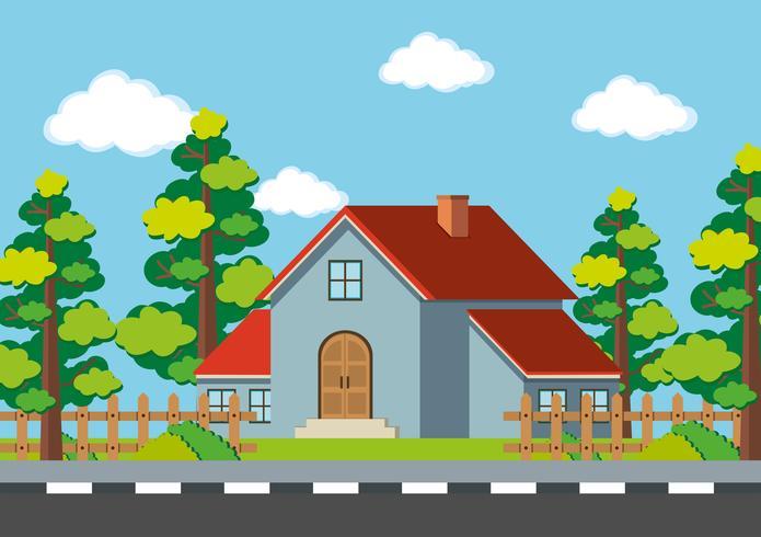 Grijs huis op de weg