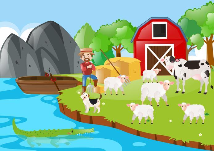 Boer en dieren op de boerderij