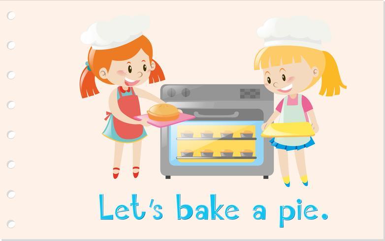 Action wordcard med tjejer bakning paj