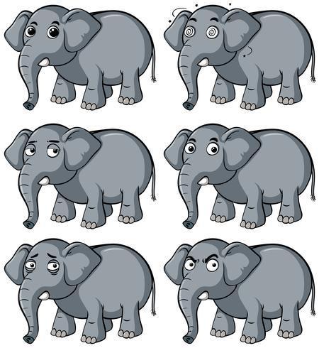 Vild elefant med olika ansiktsuttryck vektor