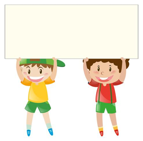 Happy boys holding white board