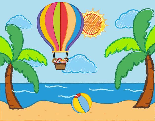 Scena con bambini che cavalcano un pallone sopra il mare