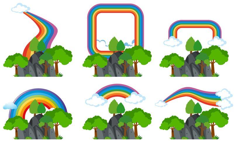 Arco-íris sobre as montanhas rochosas