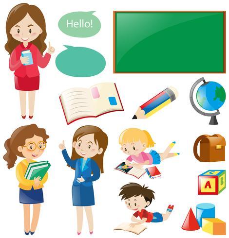 Skoluppsättning med lärare och studenter