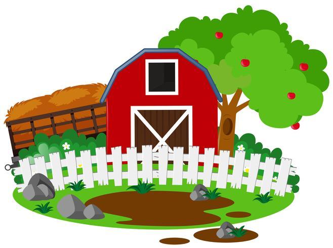 Scène de ferme avec grange et pommier