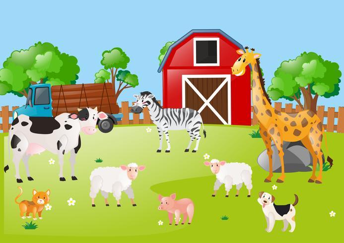 Många djur på gården vektor