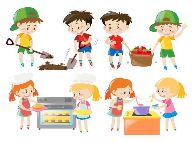 Kinder kochen und tun im Garten