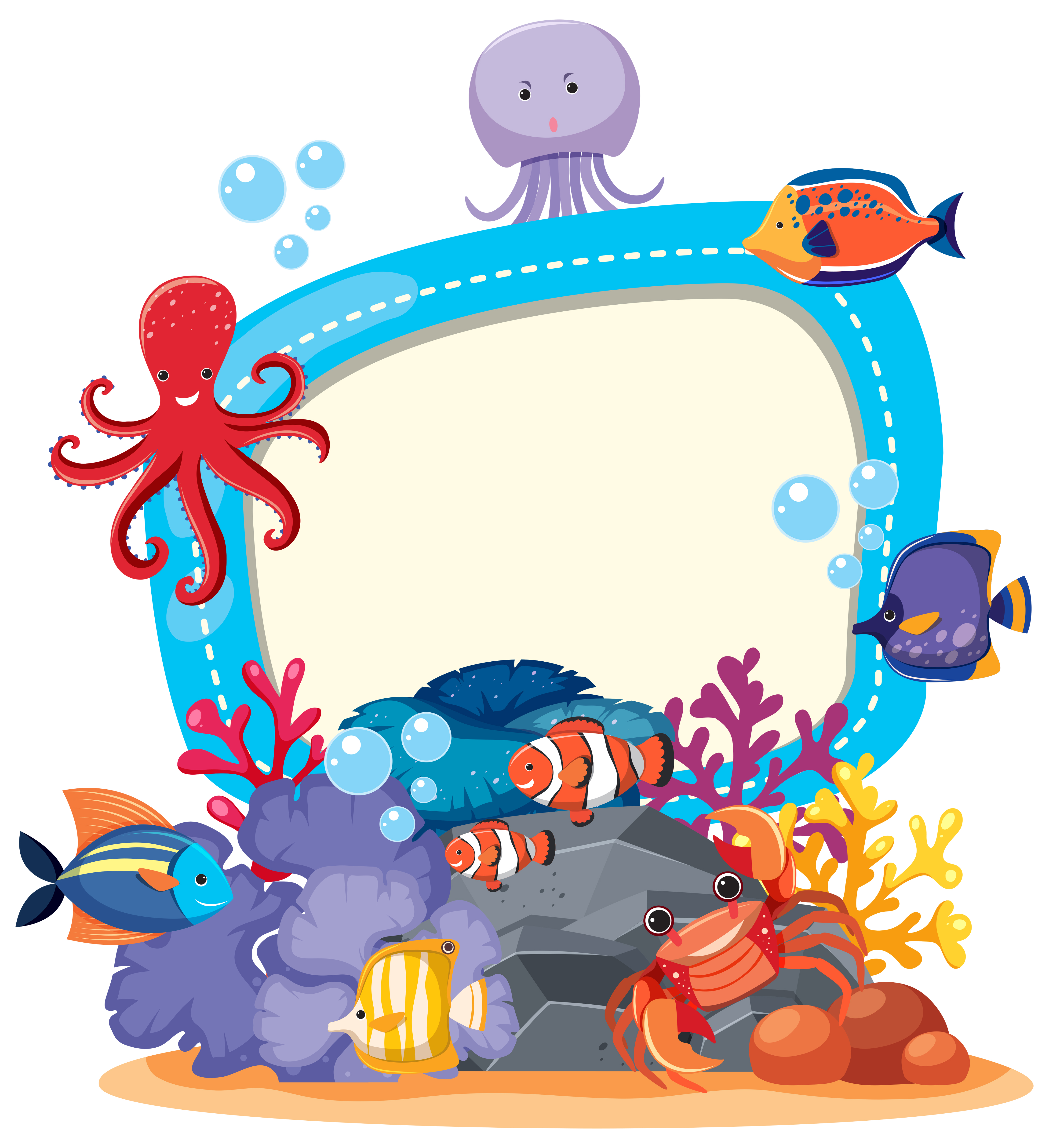 Border Template With Cute Sea Animals Download Free Vectors Clipart Graphics Vector Art