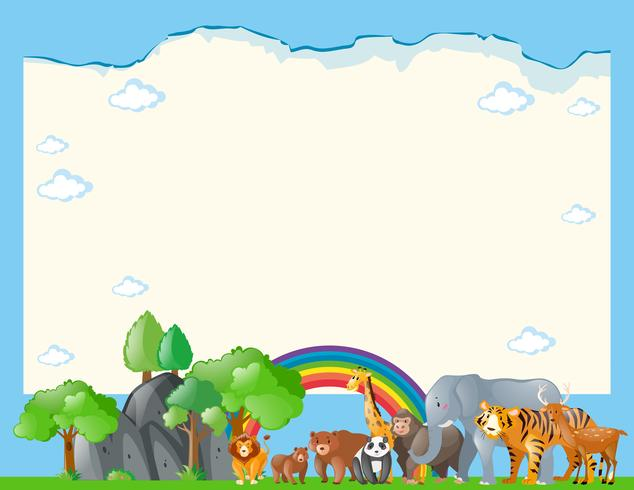 Paper template with wild animals