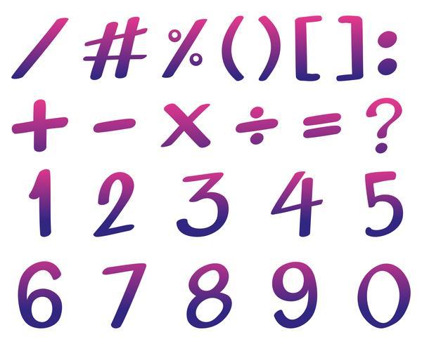 Design de fonte para números na cor rosa e roxa
