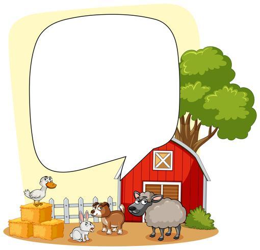 Farm scene with many animals