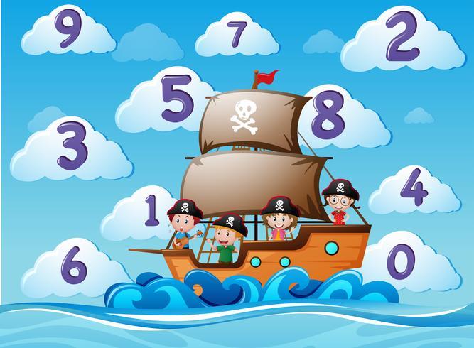 Contando números com crianças no navio