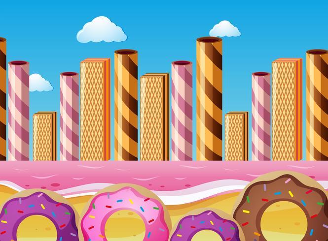 Fantacy-Szene mit Donuts und Rosa Ozean