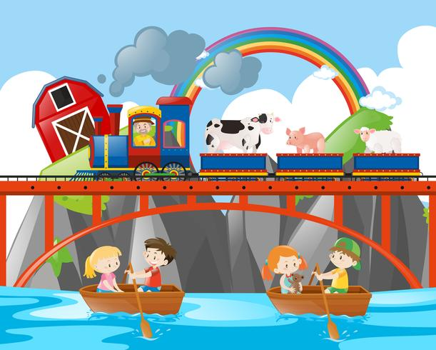 Animals riding on train and kids rowing boats