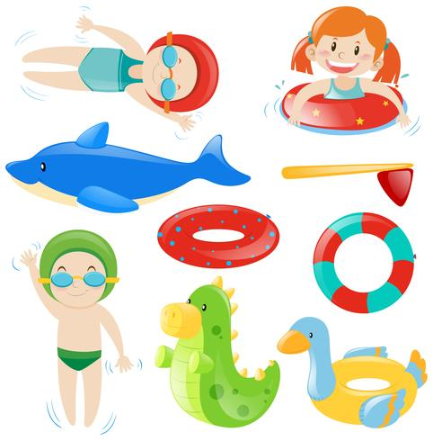 Baduppsättning med simmare och utrustning