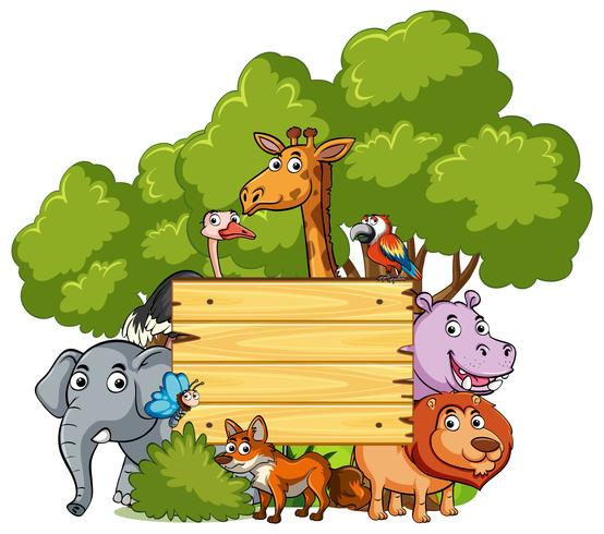 Wooden sign with many wild animals