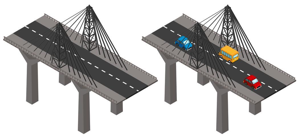 Pont avec des voitures et sans