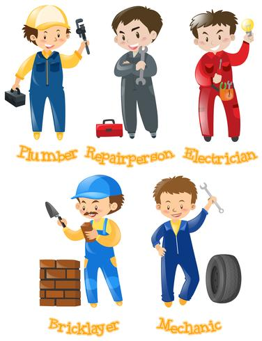 Different kinds of construction jobs