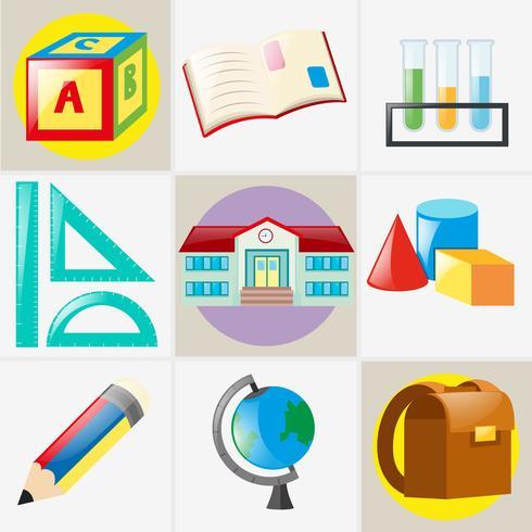 Different types of school materials vector