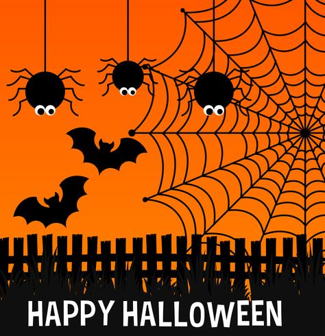 Happy halloween poster with spiders and web vector