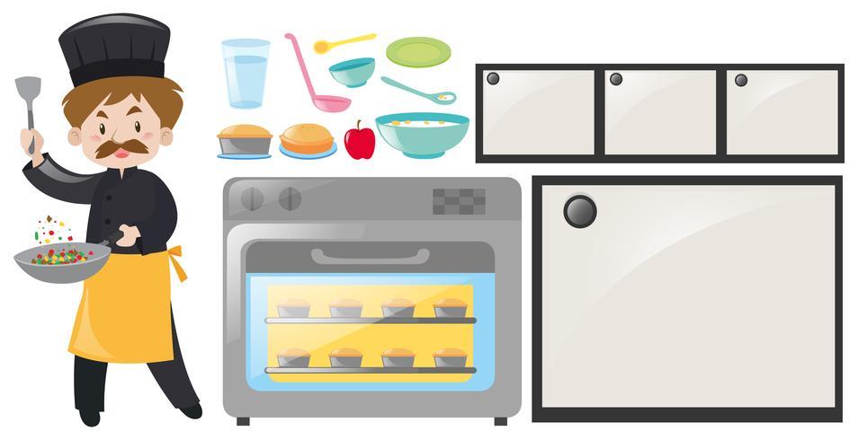 Chef and kitchen equipment set