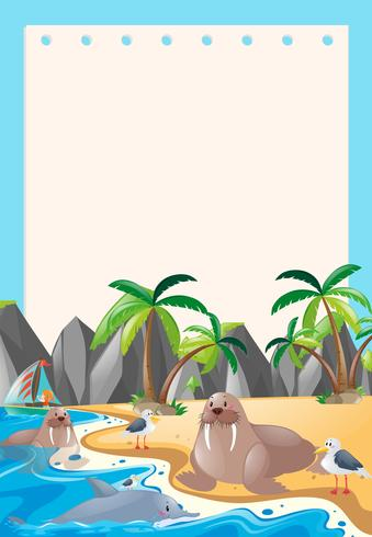 Border template with sea animals