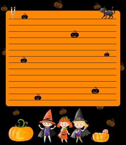 Linie Papierschablone mit Kindern in Halloween-Kostümen