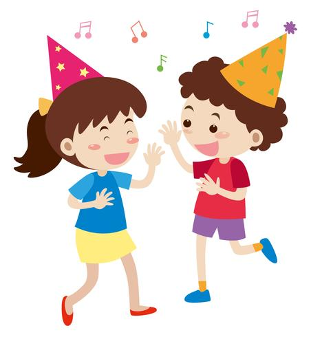 Boy and girl singing at party