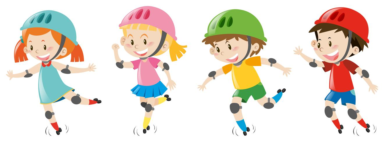 Vier Kinder tragen einen Helm
