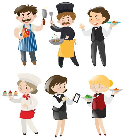 Människor gör olika jobb i restaurangen