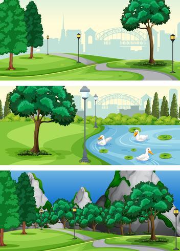 Set of urban park
