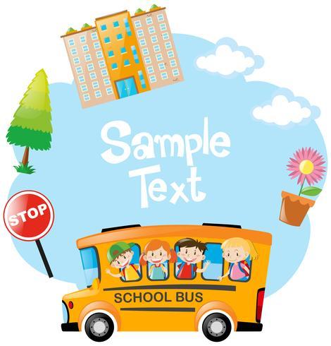 Papiersjabloon met kinderen rijden op de bus