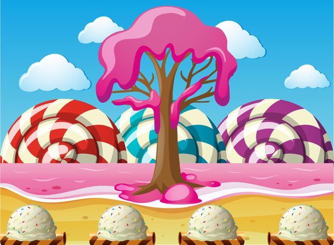 Fantasia scena con lecca-lecca e oceano rosa